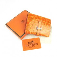 Hermes Orange Crocodile Veins Wallet H006