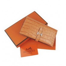 Hermes Orange Leather Crocodile Veins Long Wallet H005