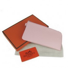 Hermes Pink Zip Around Wallet Cow Leather H010