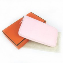 Hermes Pink Zippy Cow Leather Wallet H016
