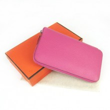 Hermes Plum red Zippy Cow Leather Wallet H016