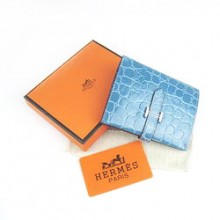 Hermes Blue Crocodile Veins Wallet H006