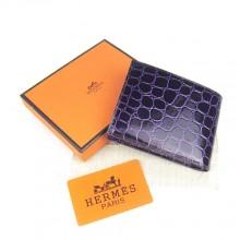 Hermes Purple Crocodile Veins Bi Fold Wallet H014