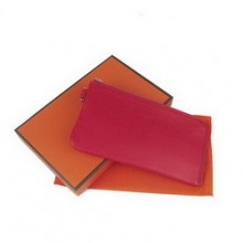 Hermes Red Zip Around Wallet Cow Leather H010