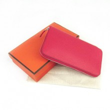 Hermes Red Zippy Cow Leather Wallet H016