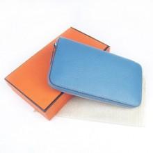 Hermes Sky Blue Zippy Cow Leather Wallet H016