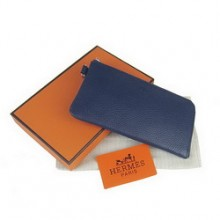 Hermes Zip Around Wallet Cow Leather Dark Blue H010