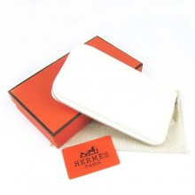 Hermes White Zippy Cow Leather Wallet H016