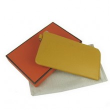 HermesYellow Zip Around Wallet Cow Leather H010