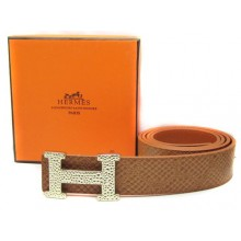 Light Brown Hermes Crocodile Belt With Gold H Buckle H80027