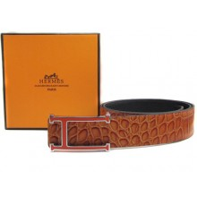 Light Brown Hermes Crocodile Belt With Pink H Buckle H20026