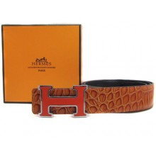 Light Brown Hermes Crocodile Belt With Pink H Buckle H20029