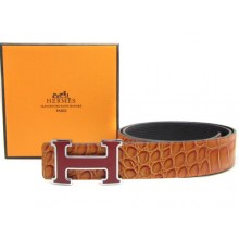 Light Brown Hermes Crocodile Belt With Pink H Buckle H20051