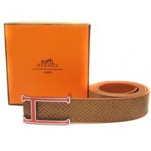 Light Brown Hermes Crocodile Belt With Pink H Buckle H80020