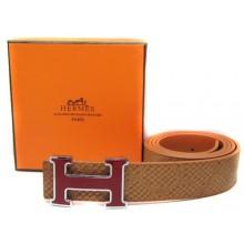 Light Brown Hermes Crocodile Belt With Pink H Buckle H80040