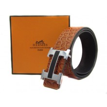 Light Brown Hermes Crocodile Belt With Silver Black H Buckle H20018