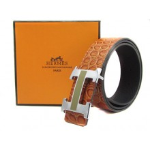 Light Brown Hermes Crocodile Belt With Silver Black H Buckle H20020