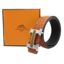 Light Brown Hermes Crocodile Belt With Silver Black H Buckle H20021