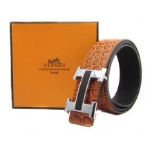 Light Brown Hermes Crocodile Belt With Silver Black H Buckle H20031