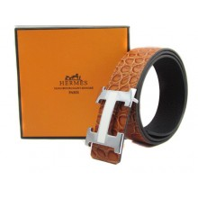 Light Brown Hermes Crocodile Belt With Silver H Buckle H20019