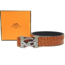 Light Brown Hermes Crocodile Belt With Silver H Buckle H20033