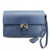 Hermes Jet Pochette Clutch Bag Clemence Leather Dark Blue