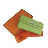 Hermes Kelly Wallet Green Cow Leather H009