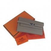 Hermes Kelly Wallet Grey Great strength Veins H009