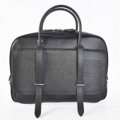 Hermes Steve 38CM Travel Bag Clemence Leather Black