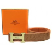 Light Brown Hermes Crocodile Belt With Gold H Buckle H80023