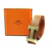 Light Brown Hermes Crocodile Belt With Gold H Buckle H80024