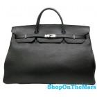 Rare Hermes Black Birkin 50CM Bag Clemence Leather With Silver HardWare