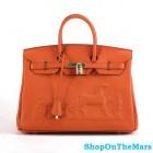Hermes Orange Horse Drawn Birkin 35CM Bag Clemence Leather Gold HardWare