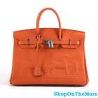 Hermes Orange Horse Drawn Birkin 35CM Bag Clemence Leather Silver HardWare