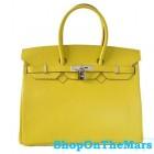 Hermes Lemon Birkin 35CM Bag Tote Leather Silver HardWare