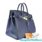 Hermes Navy Blue Birkin 40CM Bag Clemence Leather With Gold HardWare