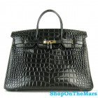 Hermes Birkin 40CM Bag Black Crocodile Leather