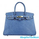 Hermes Blue Jeans Birkin 30cm Ostrich Leather Bag Gold Hardware