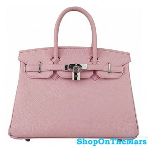 Hermes Pink Birkin 30CM Bag Clemence Leather With Silver HardWare