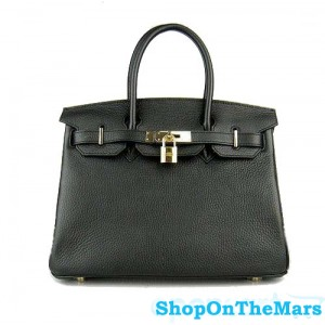 Hermes Black Birkin 30CM Bag Clemence Leather With Gold HardWare