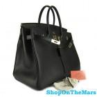 Hermes Black Birkin 40CM Bag Clemence Leather With Gold HardWare