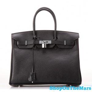 Hermes 1:1 Design Birkin Clemence Leather Bag Black