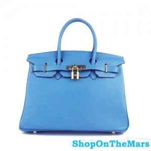 Hermes Blue Jeans Birkin 30CM Bag Clemence Leather With Gold HardWare
