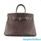 Hermes Coffee Birkin 35CM Bag Crocodile Leather With Gold HardWare