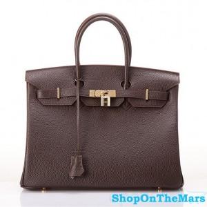 Hermes 1:1 Design Birkin Clemence Leather Bag Coffee
