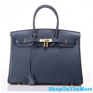 Hermes 1:1 Design Birkin Clemence Leather Bag Navyblue