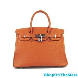 Hermes Orange Birkin 30CM Bag Clemence Leather With Silver HardWare