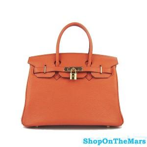 Hermes Orange Birkin 30CM Bag Clemence Leather With Gold HardWare