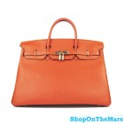 Hermes Orange Birkin 40CM Bag Clemence Leather With Gold HardWare