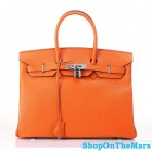 Hermes 1:1 Design Birkin Clemence Leather Bag Orange